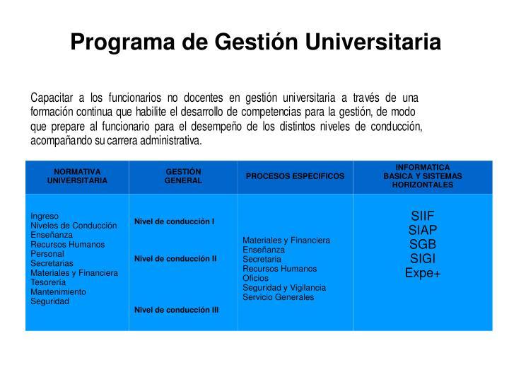 Programa de Gestin Universitaria