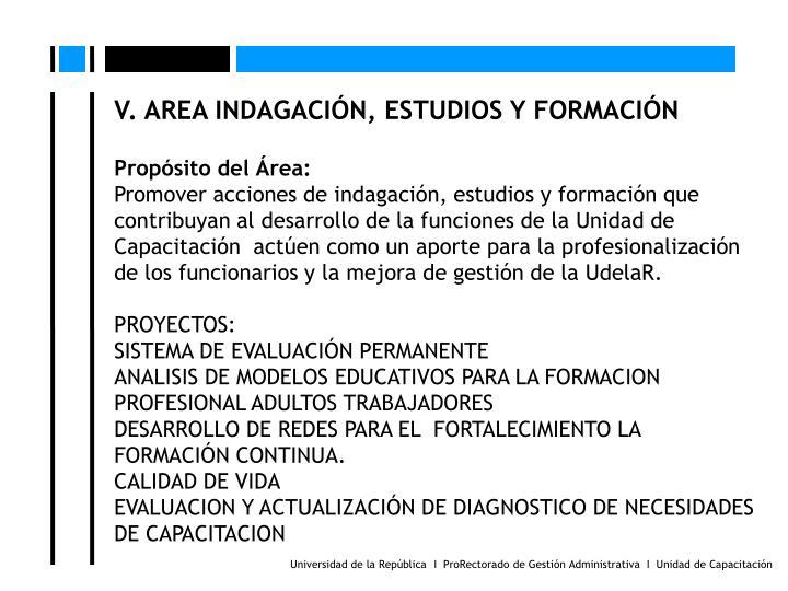 V. AREA INDAGACIN, ESTUDIOS Y FORMACIN