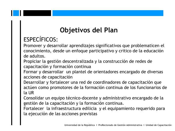 Objetivos del Plan