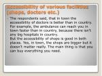 accessibility of various facilities shops doctors etc