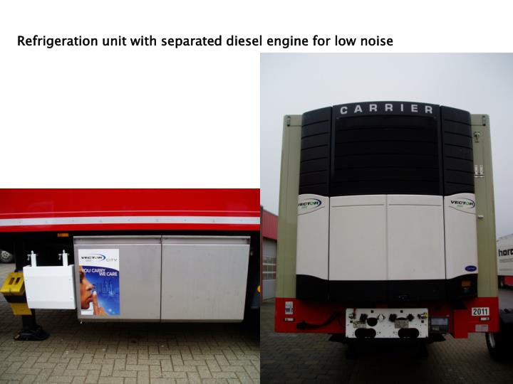 Refrigeration unit with separated diesel engine for low noise