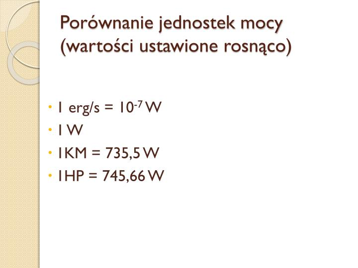 Porównanie jednostek mocy