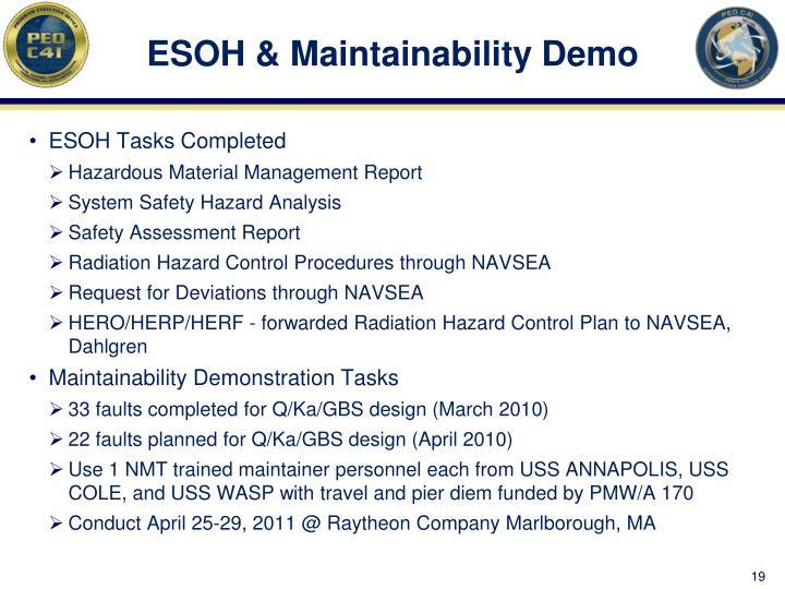 ESOH & Maintainability Demo