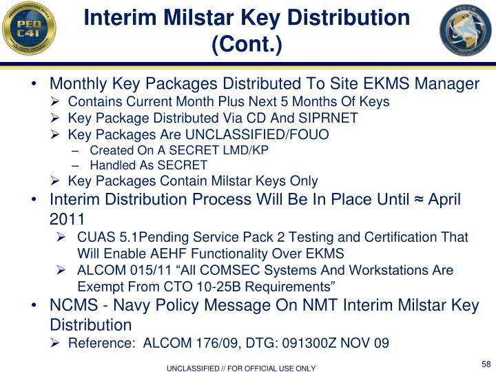 Interim Milstar Key Distribution (Cont.)