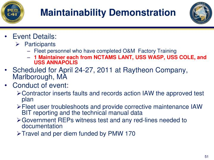 Maintainability Demonstration