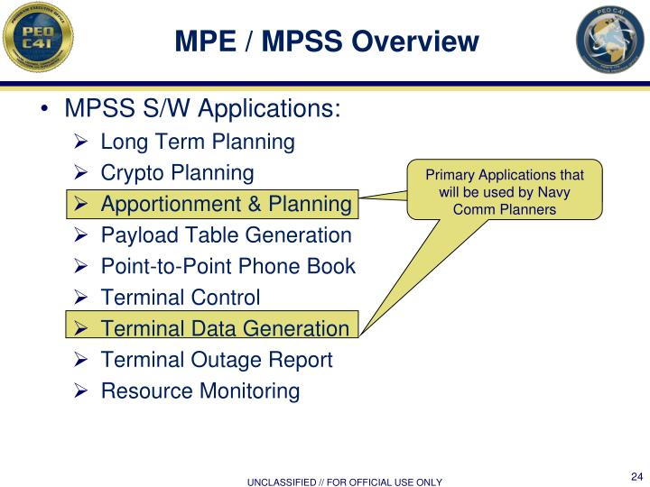 MPE / MPSS Overview
