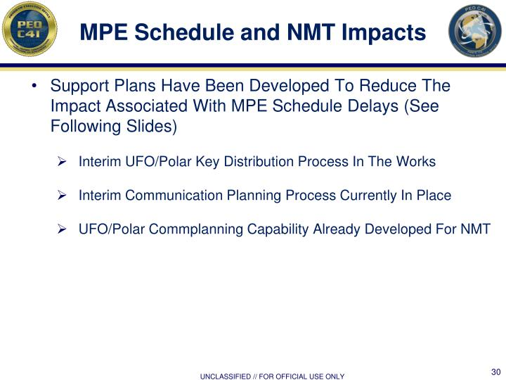 MPE Schedule and NMT Impacts