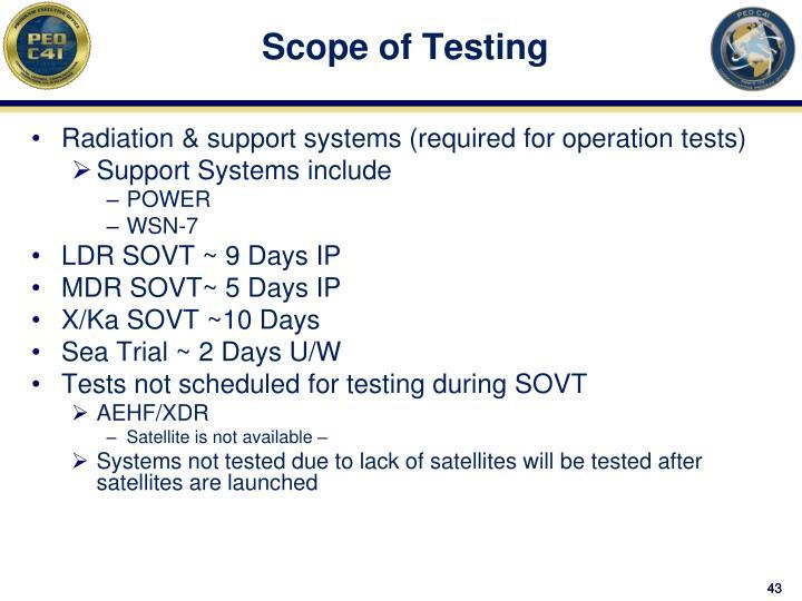 Scope of Testing