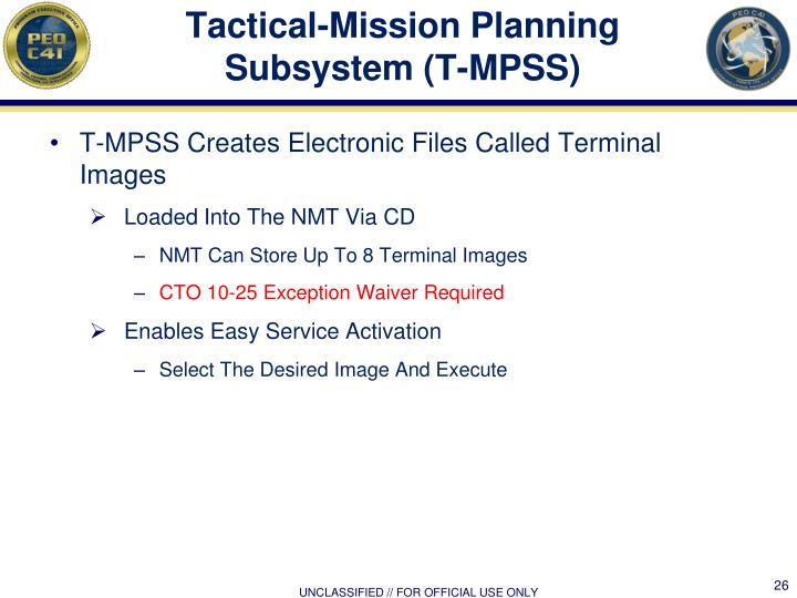 Tactical-Mission Planning Subsystem (T-MPSS)