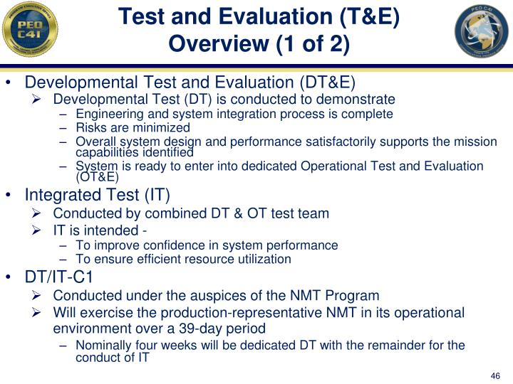 Test and Evaluation (T&E) Overview (1 of 2)