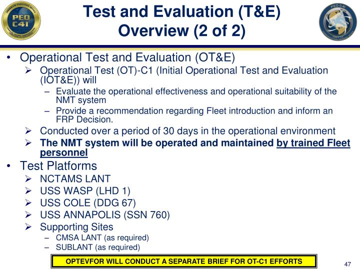 Test and Evaluation (T&E) Overview (2 of 2)