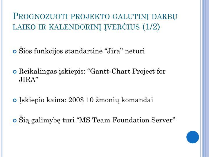Prognozuoti projekto galutinį darbų laiko ir kalendorinį įverčius (