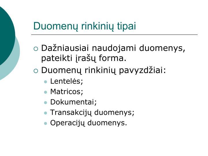 Duomenų rinkinių tipai