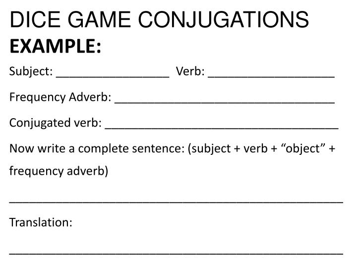 DICE GAME CONJUGATIONS