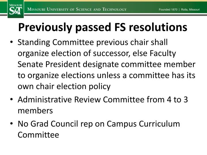 Previously passed FS resolutions