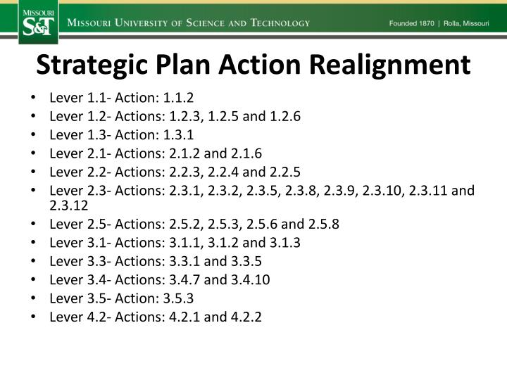 Strategic Plan Action Realignment
