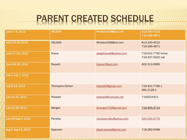 Parent created schedule