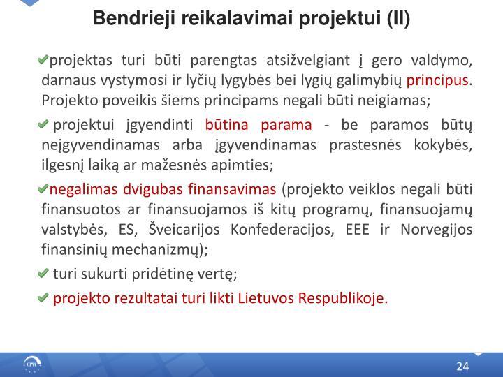 Bendrieji reikalavimai projektui (II)