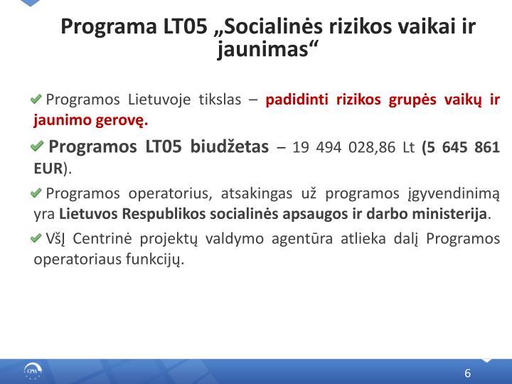 """Programa LT05 """"Socialinės rizikos vaikai ir jaunimas"""""""