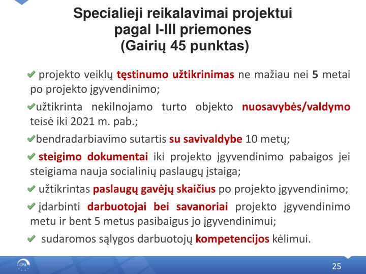 Specialieji reikalavimai projektui