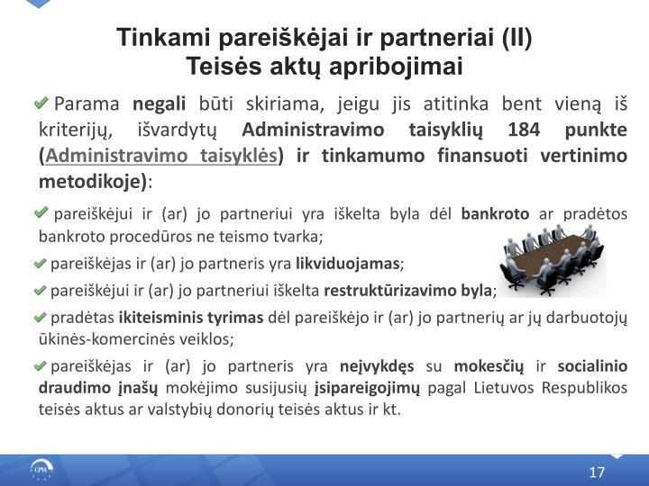 Tinkami pareiškėjai ir partneriai (I