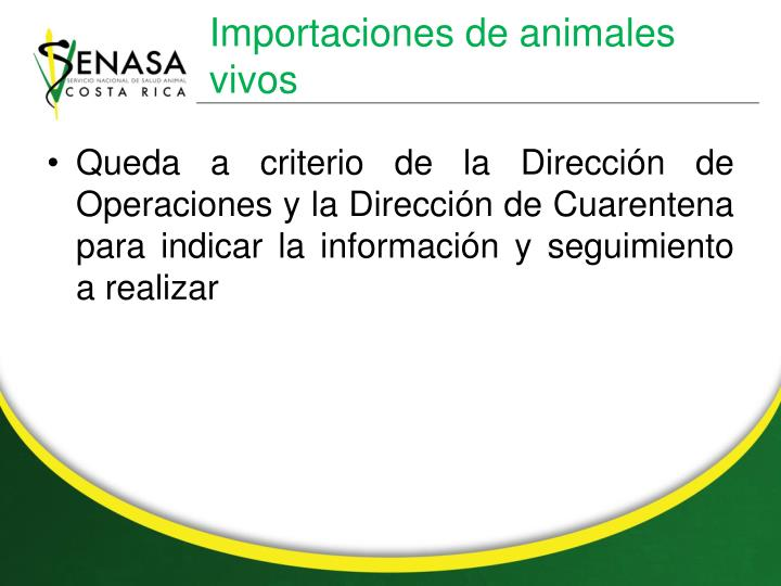 Importaciones de animales vivos
