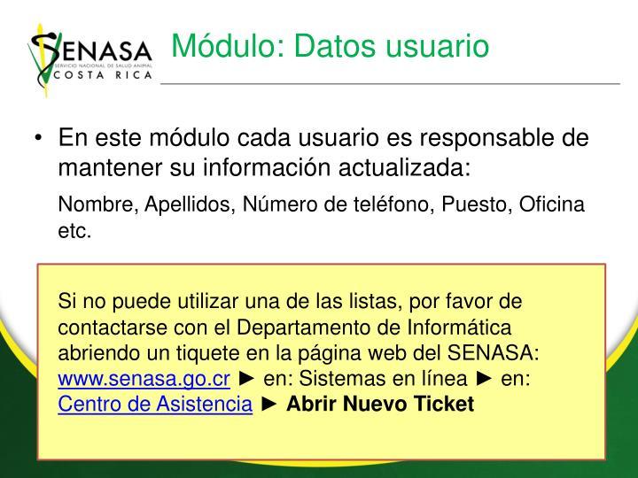 Módulo: Datos usuario