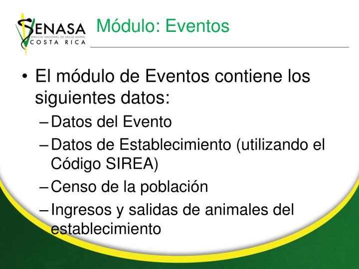 Módulo: Eventos