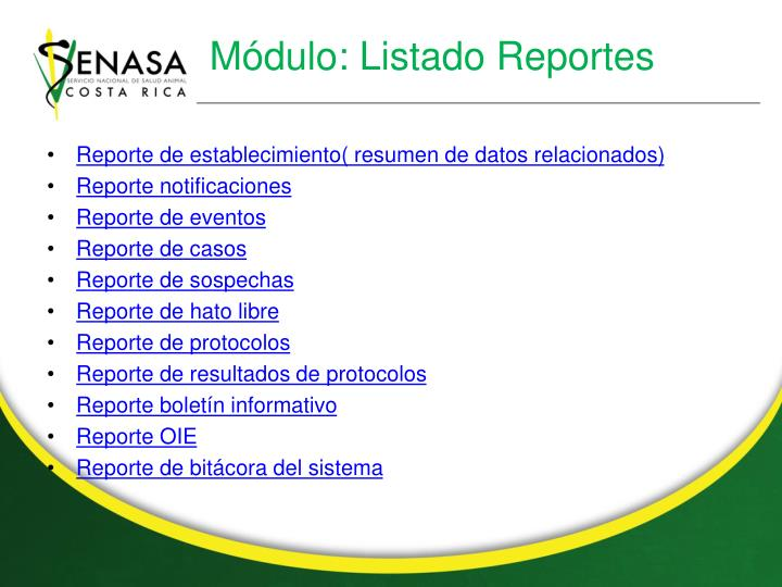 Módulo: Listado Reportes