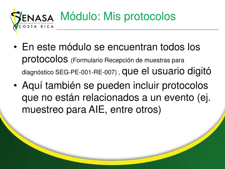 Módulo: Mis protocolos