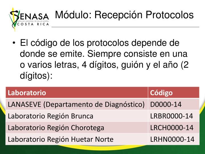 Módulo: Recepción Protocolos