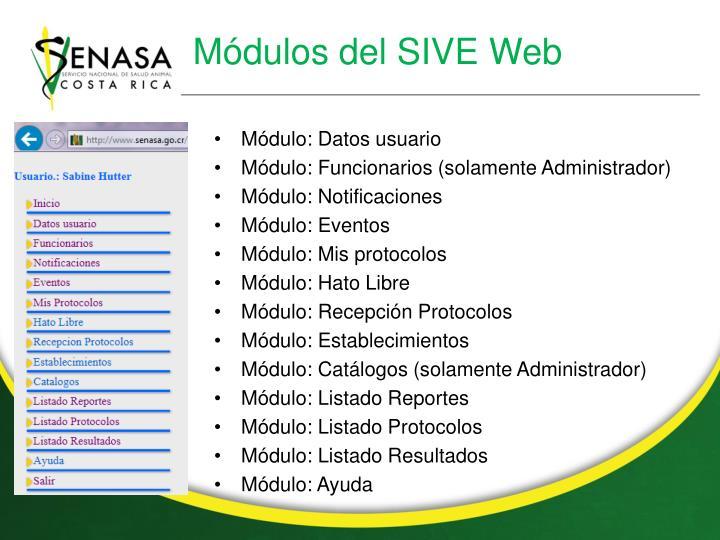 Módulos del SIVE Web