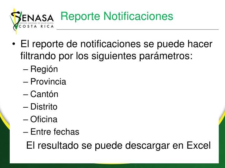 Reporte Notificaciones