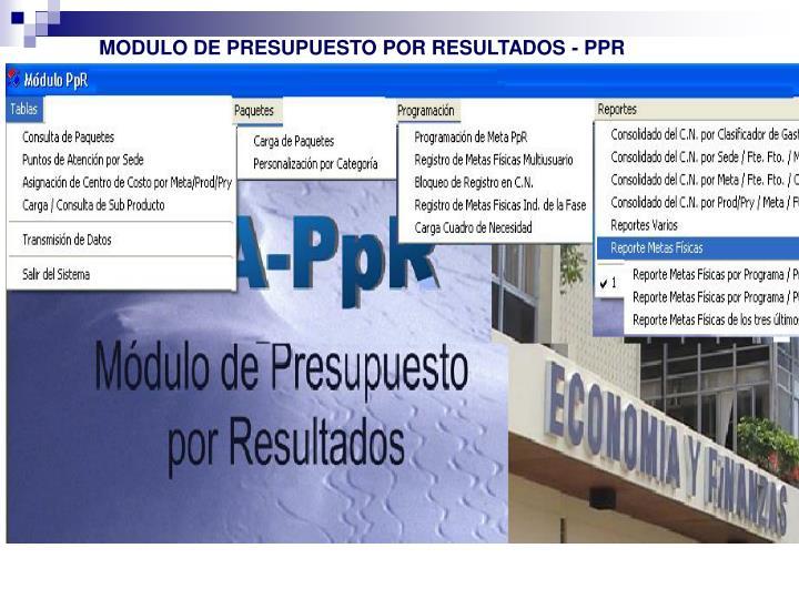 MODULO DE PRESUPUESTO POR RESULTADOS - PPR