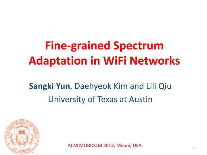 Fine grained spectrum adaptation in wifi networks