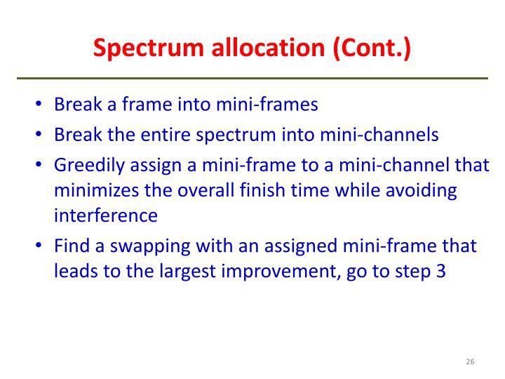 Spectrum allocation (Cont.)