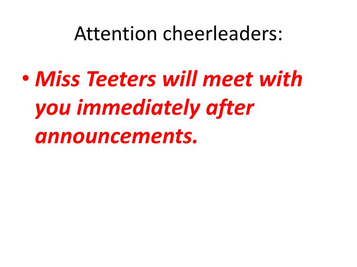 Attention cheerleaders:
