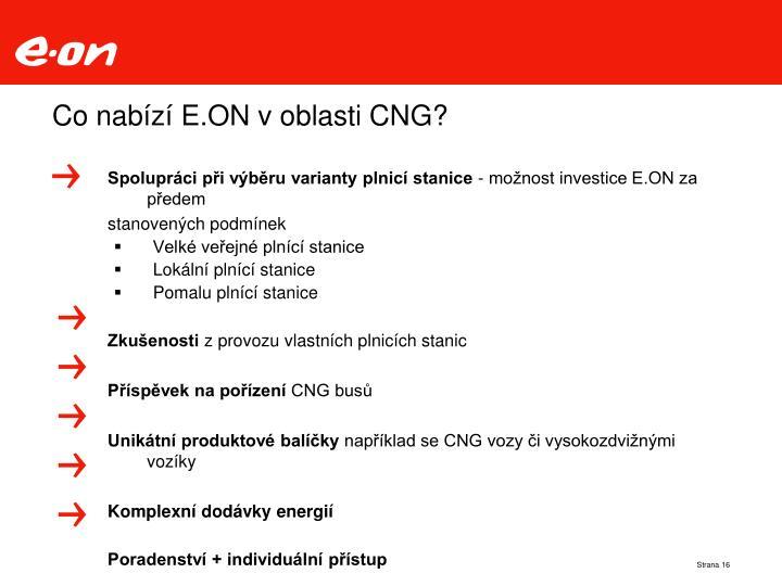 Co nabízí E.ON v oblasti CNG?