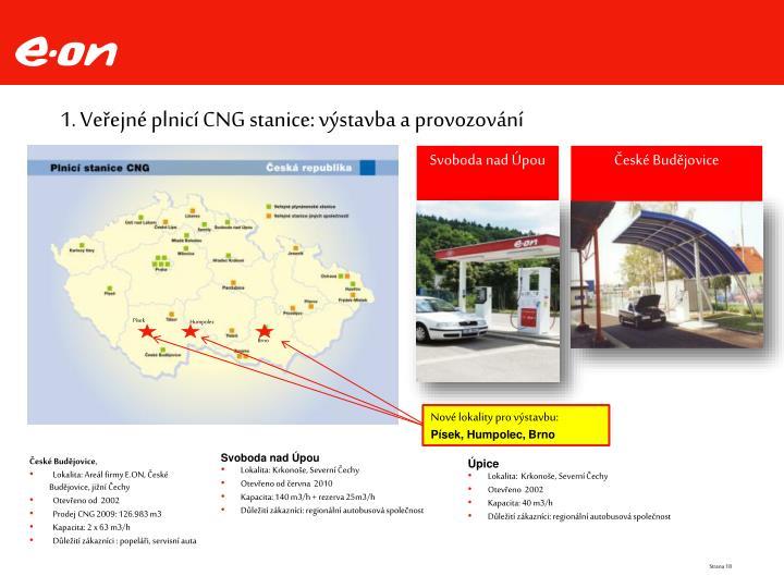 1. Veřejné plnicí CNG stanice: výstavba