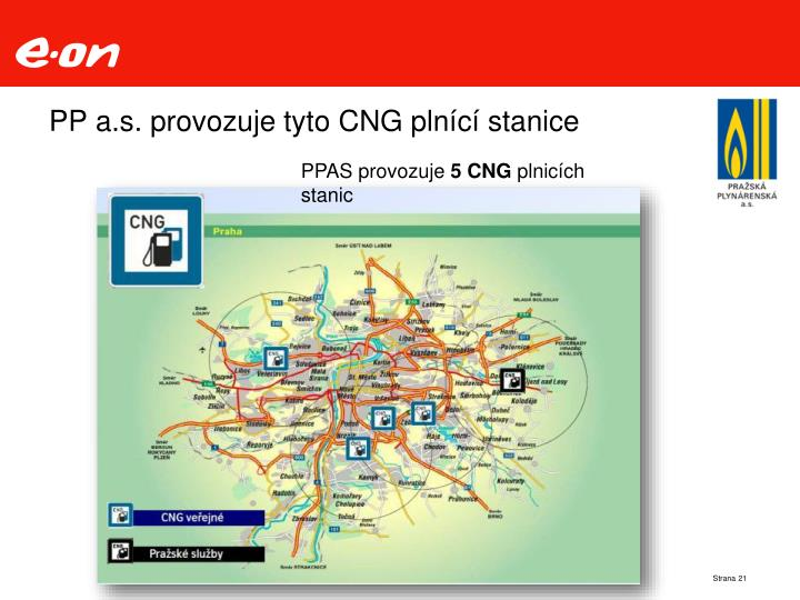 PP a.s. provozuje tyto CNG plnící stanice