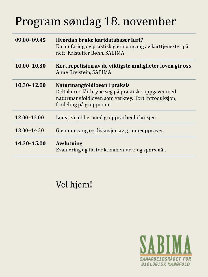 Program søndag 18. november