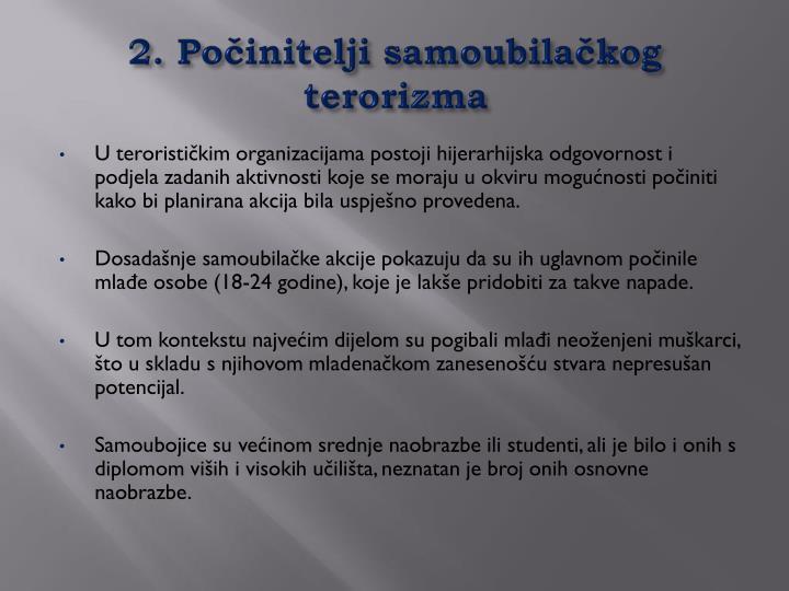 2. Počinitelji samoubilačkog terorizma