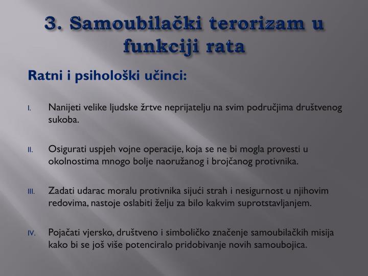 3. Samoubilački terorizam u funkciji rata
