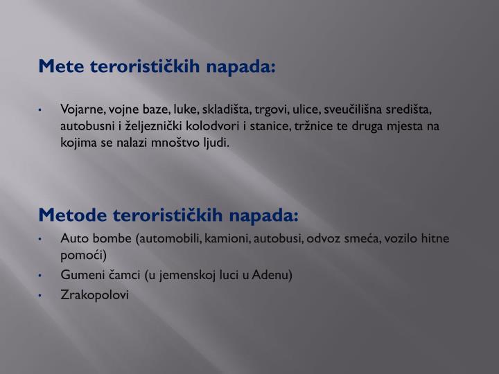 Mete terorističkih napada: