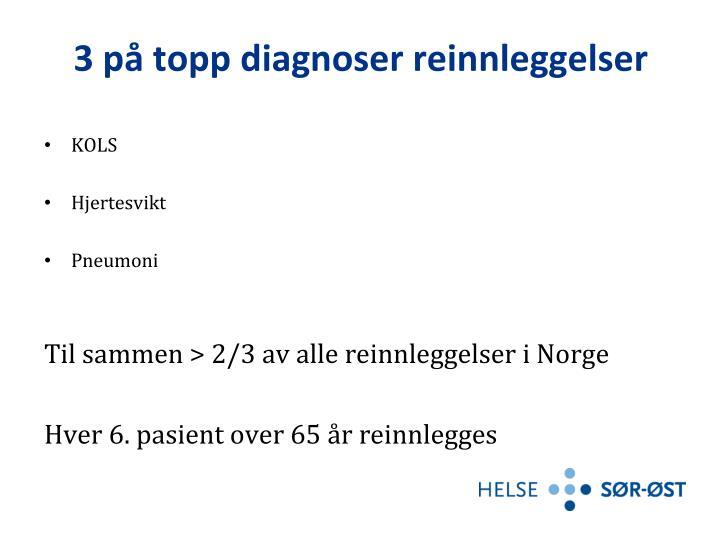 3 på topp diagnoser reinnleggelser