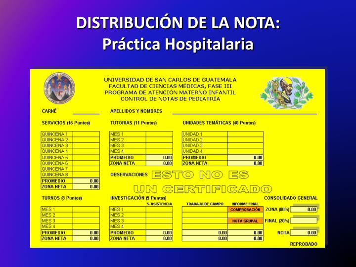 DISTRIBUCIÓN DE LA NOTA:
