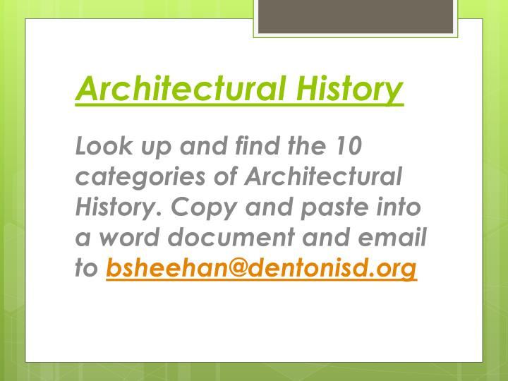 Architectural History