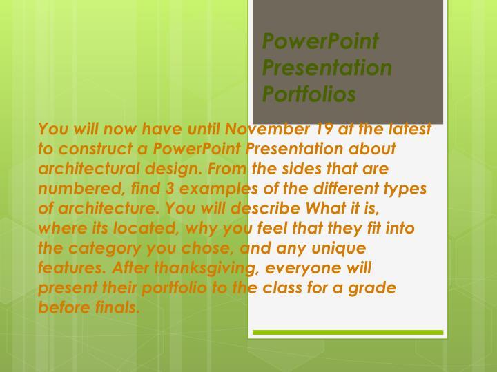PowerPoint Presentation Portfolios