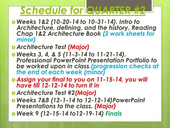 Schedule for quarter 2