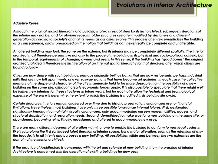 Evolutions in Interior Architecture